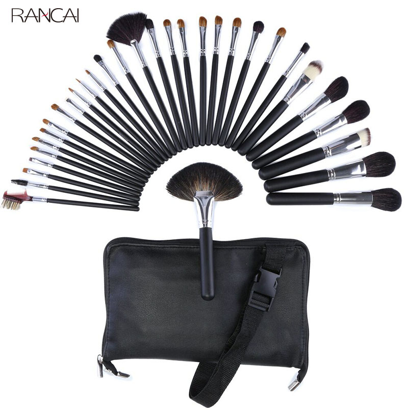 Professional 32pcs Makeup Brushes Set Goat Hair pincel maquiagem Powder Contour Brush Cosmetic Complete Kit with Leather Bag