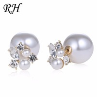 White Simulated Pearl Stud Earrings Set For Women Jewelry Accessories Piercing Ball Earrings Rhinestone Bijouteria brincos