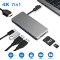 Новый 7 в 1 USB-C концентратор 3 * USB 3,0 складной кабель type-C порт адаптер для lightning 4K HDMI многопортовый с SD/TF кард-ридером