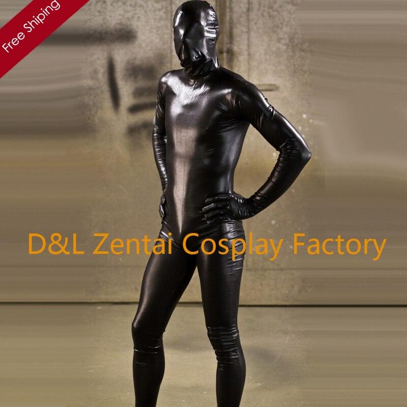 Livraison gratuite DHL 2016 Costume Sexy noir brillant métallique complet corps Zentai Costume pour hommes SM1547