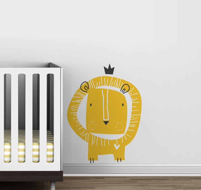 Cute Cartoon Lion Wall Stickers Vinyl Decals Nursery Wall Art Kids ...