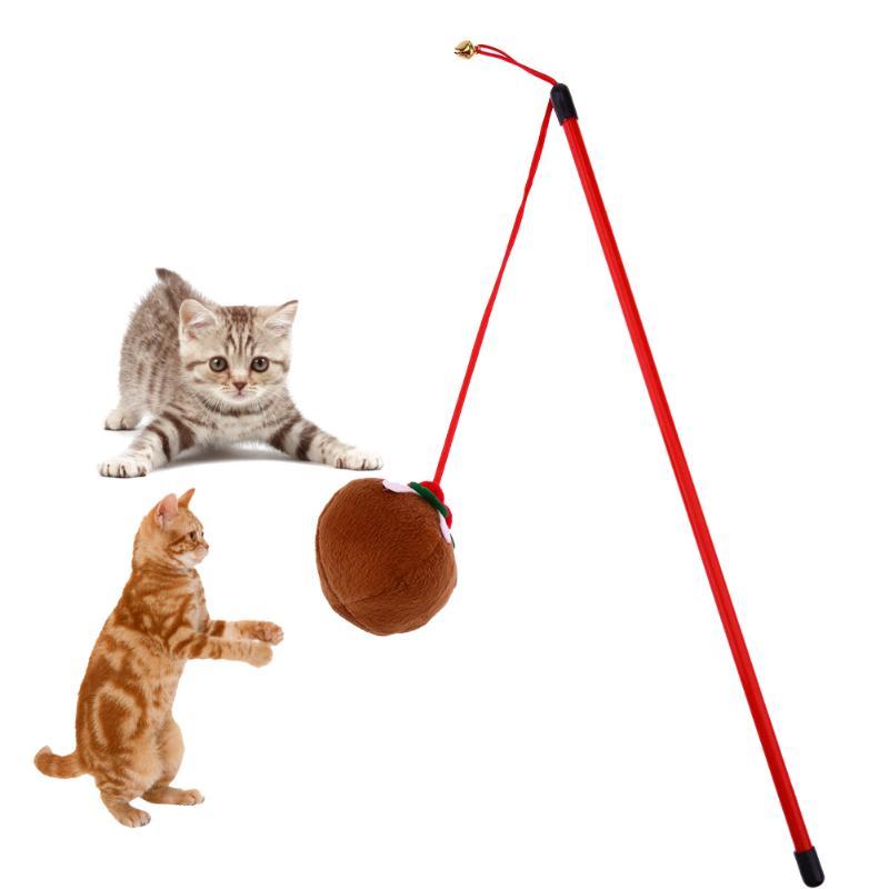 Pet Cat Toys Stick Pumpkin Wooden Tease Cat Rod Pet Toys Interactive Toys for Cats Interesting Gift for Pet Cats Pet Supplies