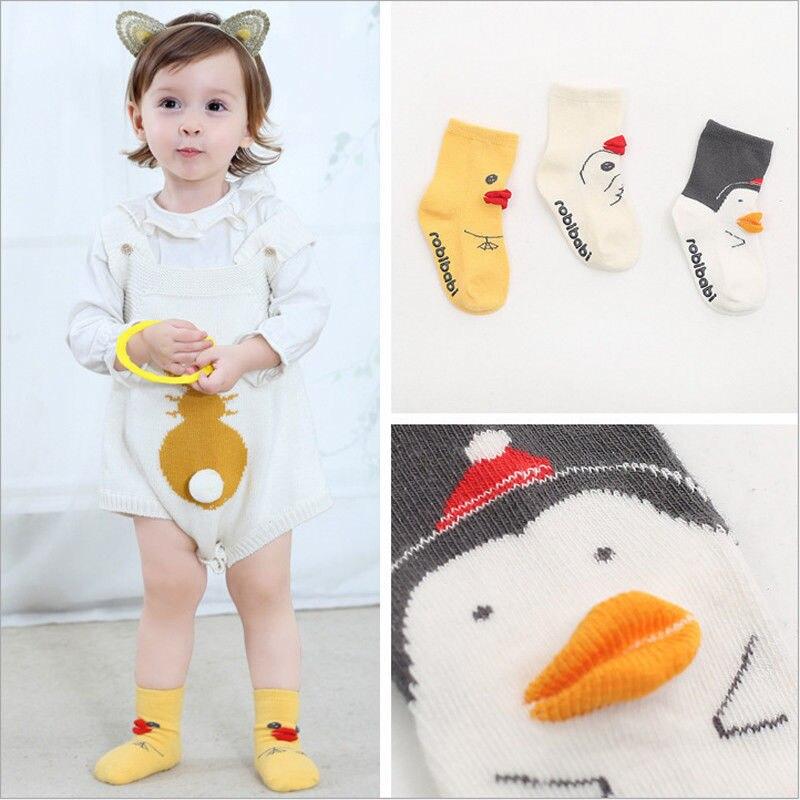 Toddler Kids Knit Socks Baby Fall Winter Warm Calf Socks Anti-slip Knitted Socks