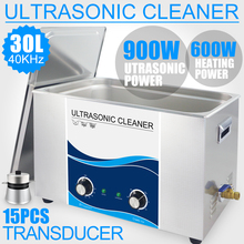 900 Вт Ультразвуковой очиститель 30л промышленного использования Нагреватель 40 кГц для ванной из нержавеющей стели Ультразвуковая Машина Автомобильный лабораторный фильтр двигатели масло ржавчины