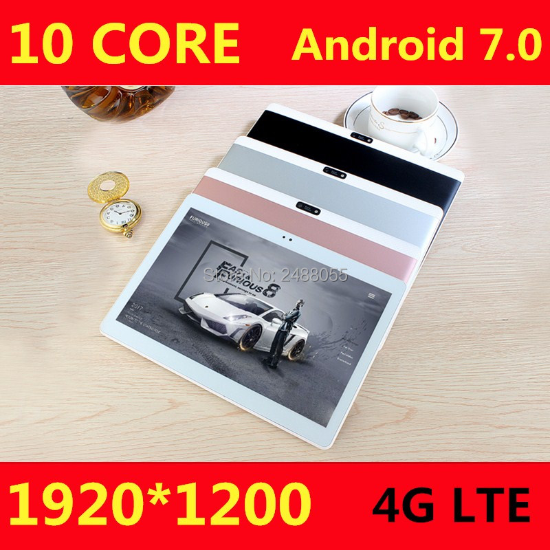 10 inch 10 Core Tablet PC Android 7.0 <font><b>4GB</b></font> RAM 128GB ROM 1920*1200 IPS Screen 4G LTE 8.0 MP Camera free shipping