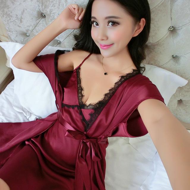 Liacmvpnel verano 2 unids robe + camisón de seda de imitación de las mujeres pijamas sexy de encaje robe conjuntos más el tamaño mujeres cardigans