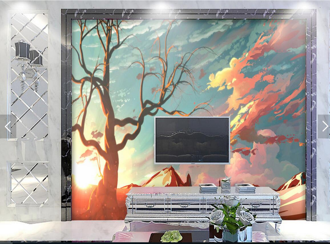 HD Sunset Cloud Landscape Photo Mural Wallpaper for Living Room TV  Background Abstract Wall Murals Sundown Wall Paper-in Wallpapers from Home  Improvement on ...