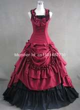 Elegant Red and Black Sleeveless Gothic Lolita Victorian Dress