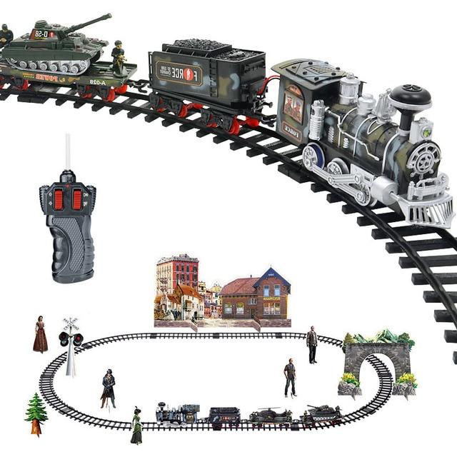 Удаленный Управление перевозка автомобилей Электрический паровой дым RC трек поезд моделирование модели перезаряжаемый Набор Модель детские игрушки