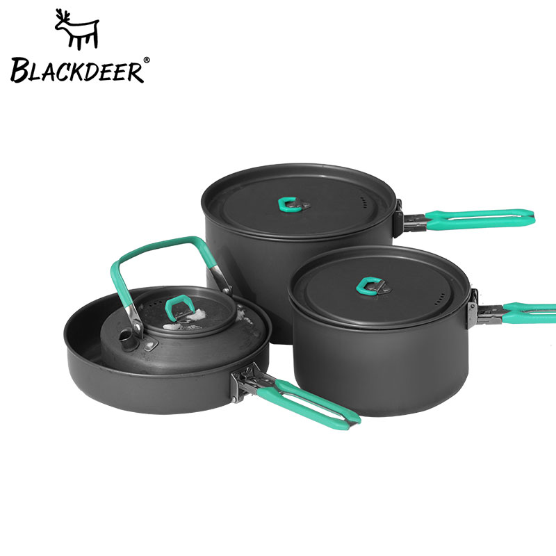 BLACKDEER Outdoor Camping Tableware Set Backpacking Picnic 2 Pot 1 Frypan 1 Kettle Alumina Durable Cookware