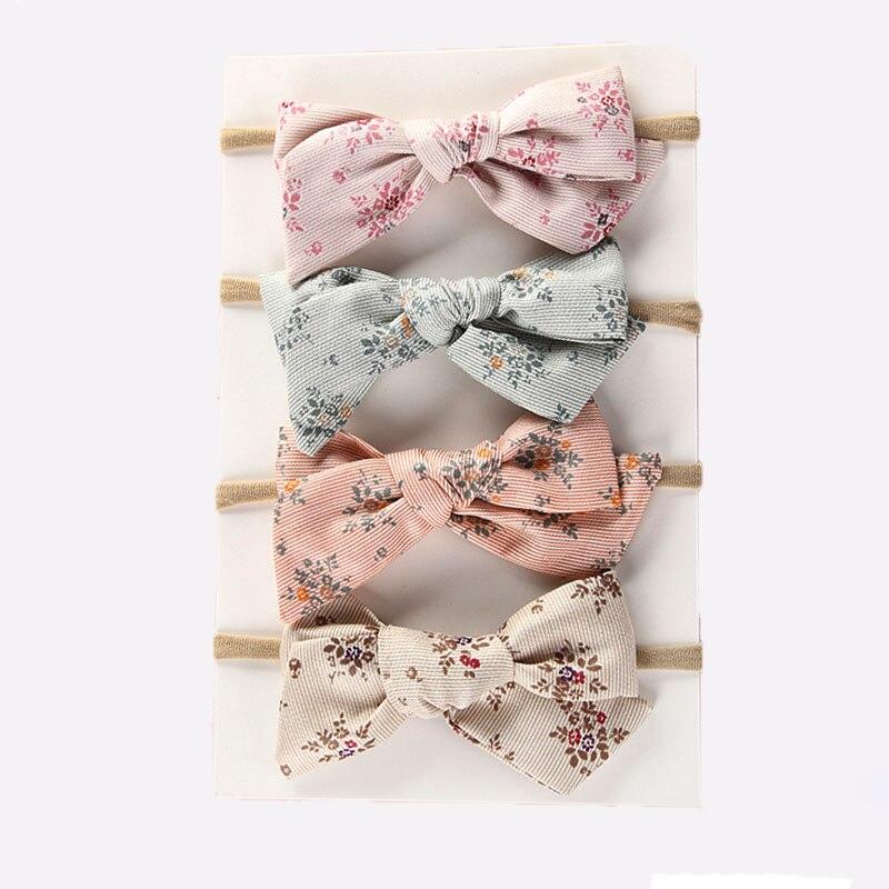 Женская цветочная повязка на голову, блестящая нейлоновая эластичная повязка для волос, мягкие аксессуары для волос для малышей, подарок дл...
