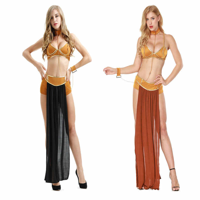 822b241a3 2018 new sexy carnival Egyptian queen role-playing Princess Leia slave  costume dress gold bra