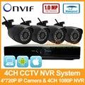 4CH Sistema NVR Câmera Secuity HD 1080 P 4CH NVR 4 PCS Bala 1280x720 P 1.0MP IP À Prova D' Água Câmera de Vigilância CCTV Camera Kit