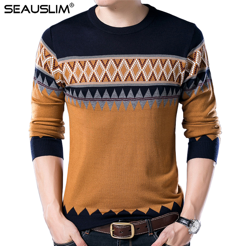 SEAUSLIM 2017 New Winter Sweater Men pull clothes Men's Wool Sweaters Pullover Casual Knitted Cashmere Sweater Male LQ-CZ-01