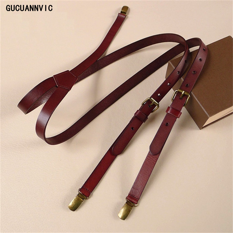 New Dark  Brown Cowhide Leather Suspenders Women Men Strap Head Skin British Retro Tri-clamp Suspenders Braces Wide 2CM