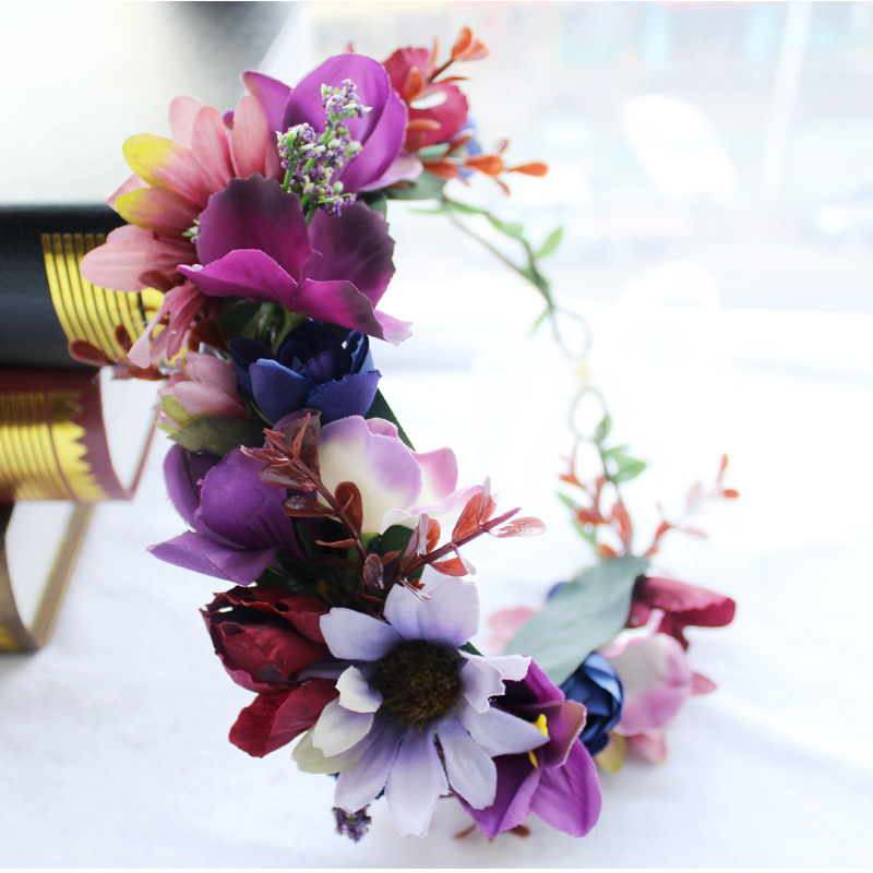 Women Wedding Flower Crown Wreath Bohemia Floral Garlands handmade kids Flower Headband girls hair Accessories Bride headdress