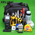 KELUSHI 29pcs/set Fiber Optic FTTH Tool Kit with 10mW Visual Fault Lcator Optical Power Meter FC-6S Fiber Cleaver Tool pliers