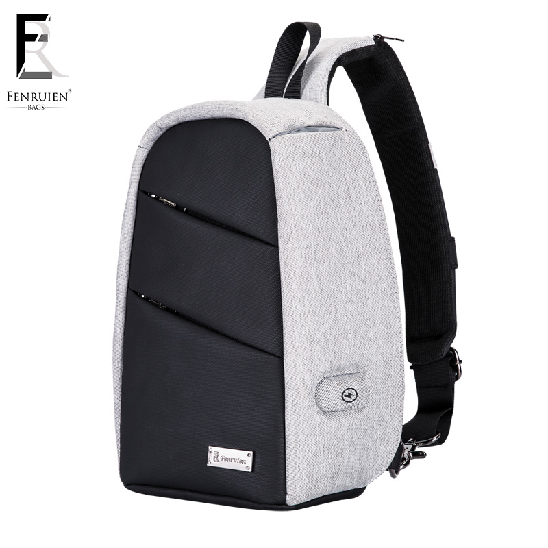 FENRUIEN Crossbody Bag Men Chest Pack Laptop Single Shoulder Strap Crossbody Bag Travel Bag USB Charging Waterproof Anti Sheft