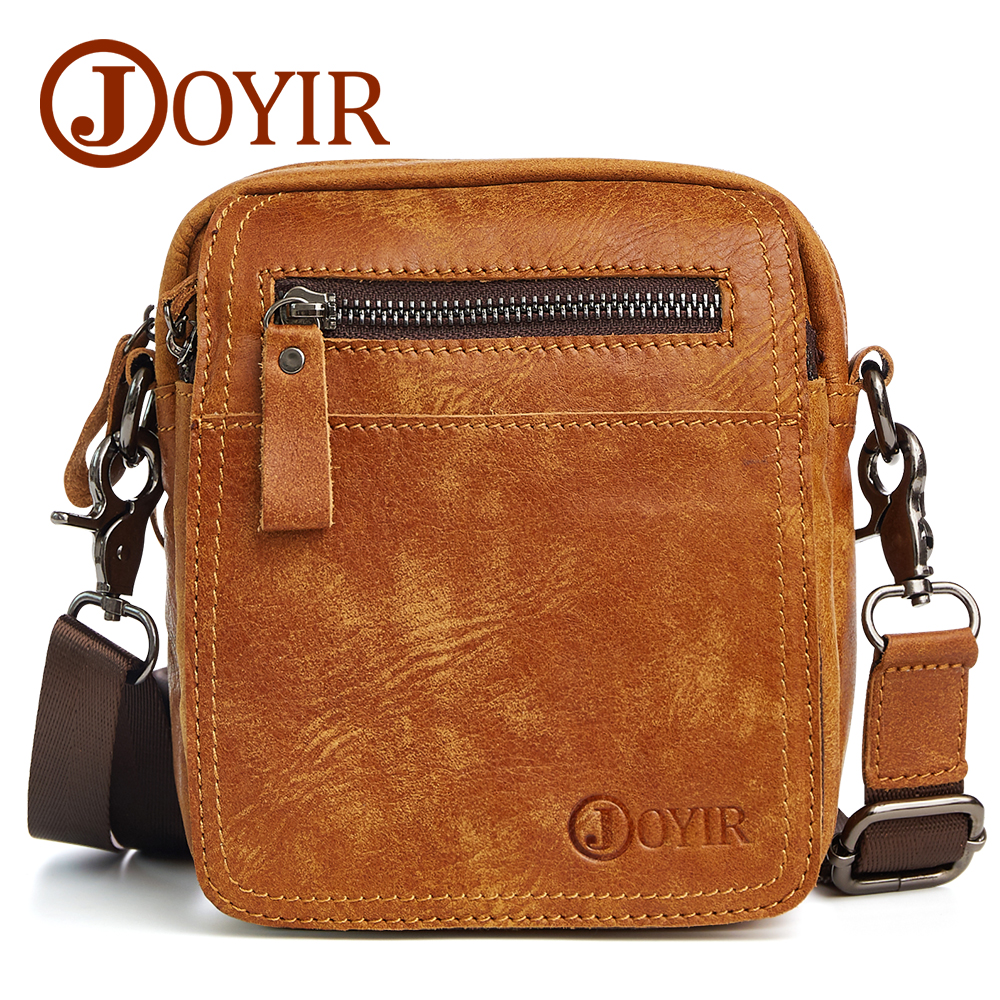 JOYIR 2017 Genuine Leather Men Bags Male Small Messenger Bag Man Vintage Flap Shoulder Crossbody Bags Men Leather Bag New 6335 freeshipping 2016 genuine leather man small bag vintage clutch bag crocodile pattern leather men messenger bags 7267c