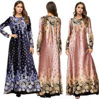 Women Maxi Dress Muslim Floral Print Gown Party Cocktail Dubai Robe Long Sleeve