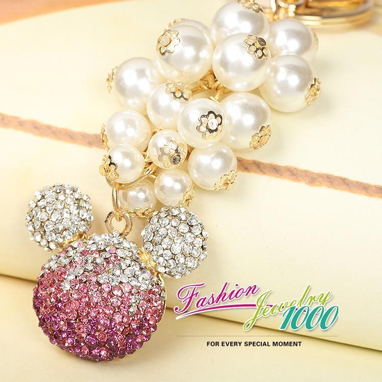 Pearl Tassel Mouse Head Keychains Keyring Fashion Rhinestone Animal Alloy Key Chain For Women Gift Charms