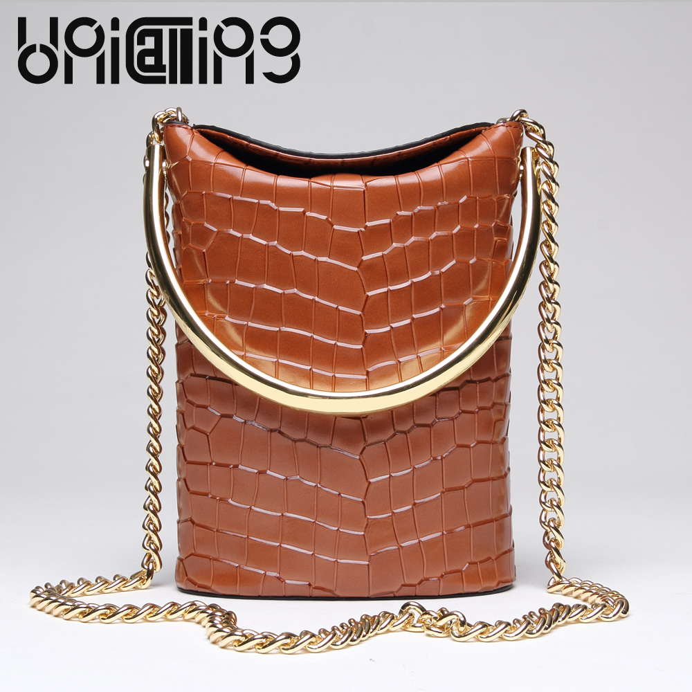 UniCalling Fashion brand Split Leather Crocodile women bag Retro Top grade Bucket Bag Chain mini crossbody bags for womenUniCalling Fashion brand Split Leather Crocodile women bag Retro Top grade Bucket Bag Chain mini crossbody bags for women