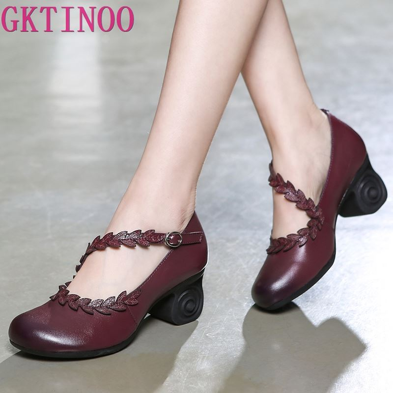 GKTINOO 2019 Spring Flower Genuine Cow Leather Shoes Women Shoes Elegant Fashion Shoes Woman Retro Handmade Shoes High Heels-in Women's Pumps from Shoes    1