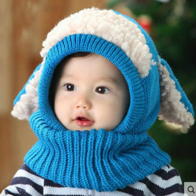 6b1ffb5e6 Baby Hats Cute Toddler Crochet Beanie Kids Girls Boys Hats Coif Hood  Kintted Woolen Scarves Caps Winter Warm Cap Lamb Fur Hats