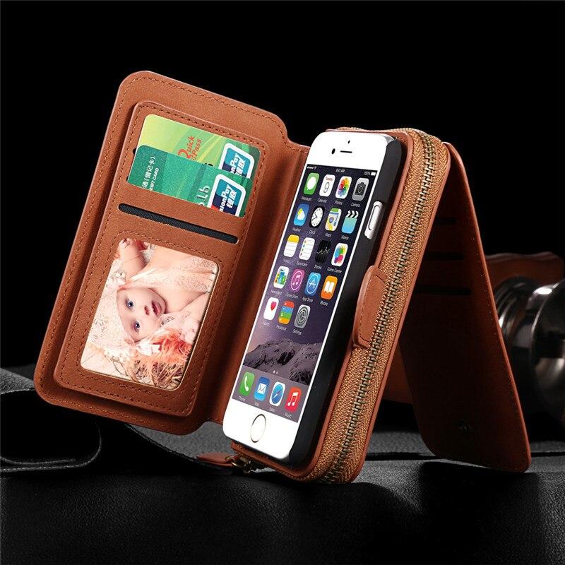 imágenes para Espejo de LA PU Casos de Cuero Para el iphone 5 SE 5S Con Cremallera Monedero Multifunción Tarjeta de Teléfono Contraportadas