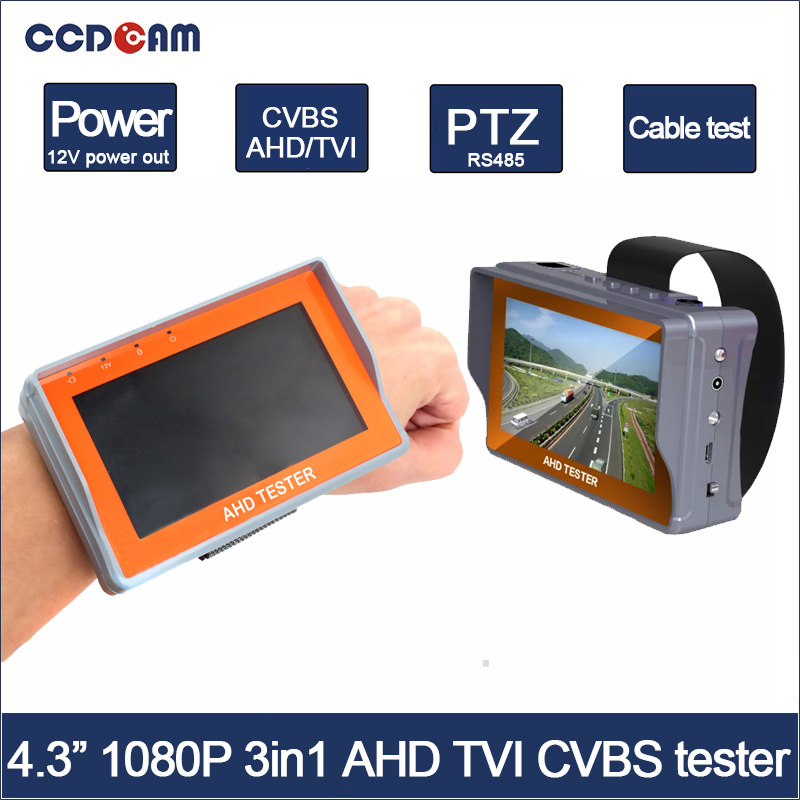 CCDCAM Free Shipping!Portable Wrist 4.3 LCD HD-AHD1080P+TVI 1080P+CVBS Analogy 3 in 1 CCTV Camera Test Monitor Tester free shipping portable 3 5 lcd hd ahd cvi tvi sdi camera tester monitor cvbs test ptz control