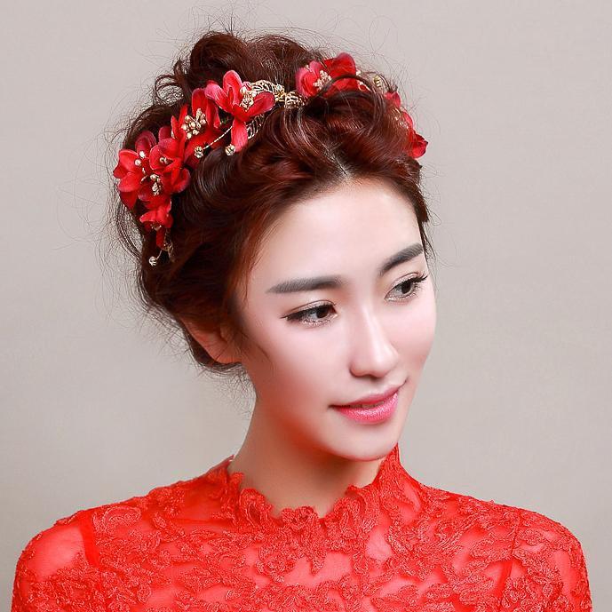 chinese bride wedding hair accessories red flower head dress bride with short hair headbands ...
