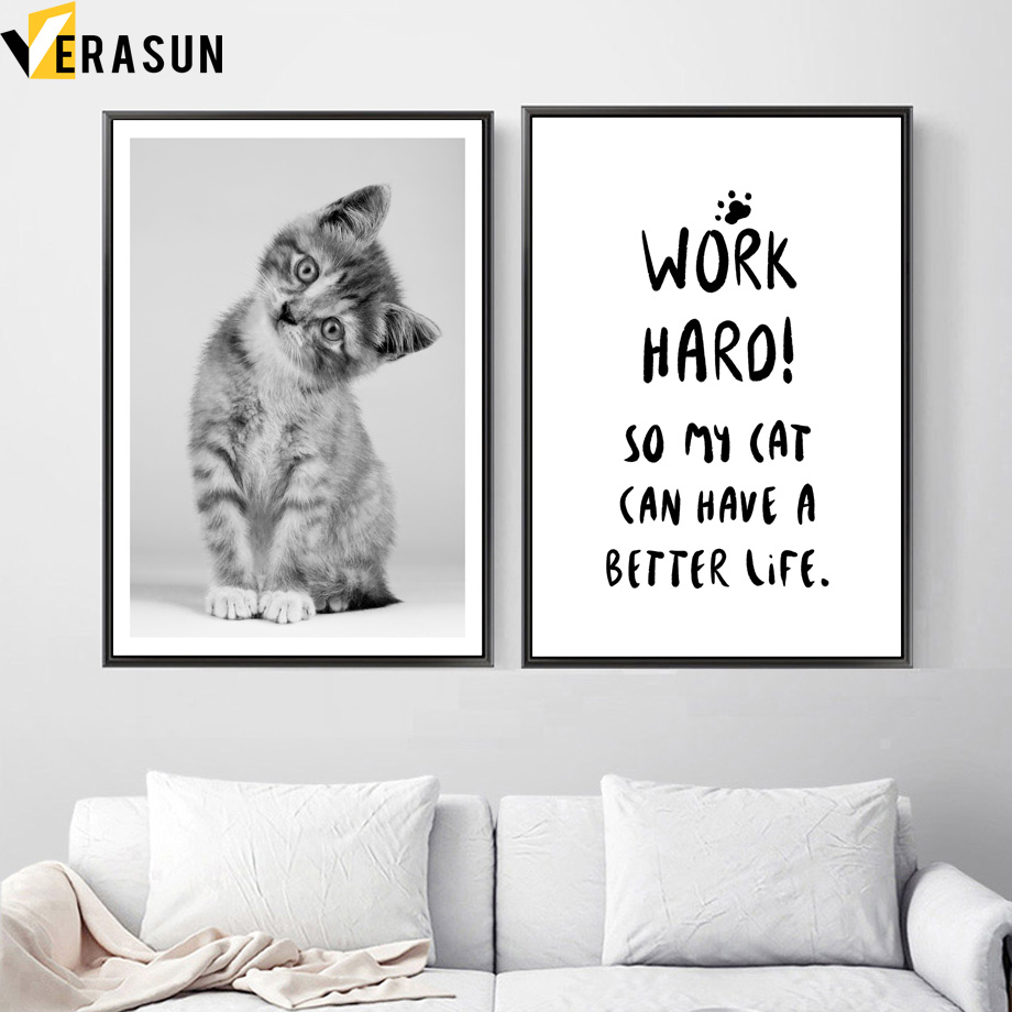 Cute Cat Inspirational Quotes Wall Art Canvas Painting ...