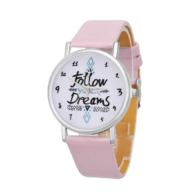 Perfect Gift watches women Follow Dreams Words Pattern Leather quartz watch Levert relógio feminino#yl