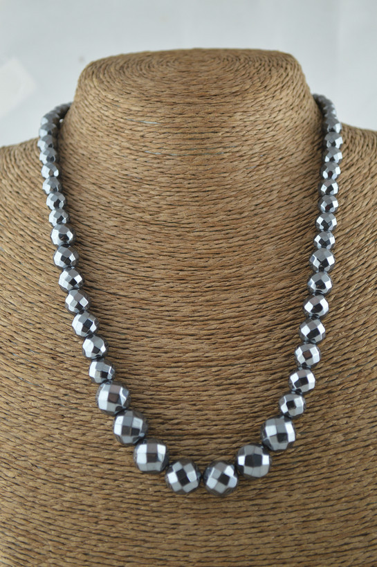 6mm~12mm 18 Natural Hematite Round Beads Graduated Necklace Fashion Women Jewelry 10pc/lot