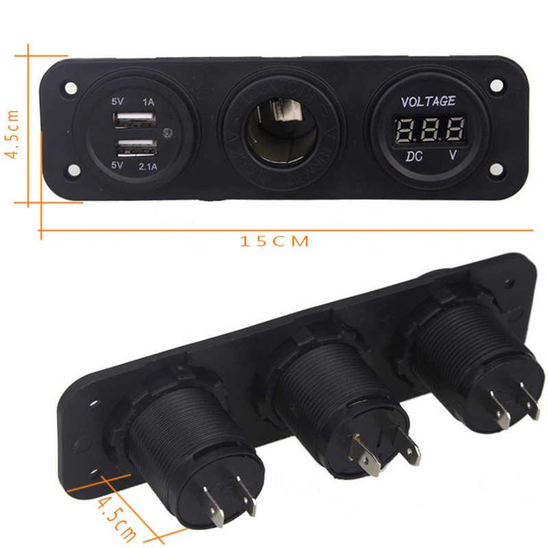 New Motorcycle Car Charger Plug Dual USB Adaptor+12V/24V Cigarette Lighter Socket Blue LED +Digital Voltmeter Mobile Phone