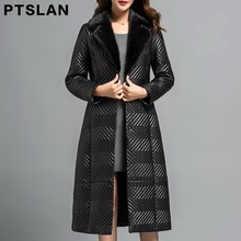 Ptslan Women'S Genuine Leather Coat With Real Mink Fur Collar Female Natural Sheepskin Coat With Belt Luxury Good Quality