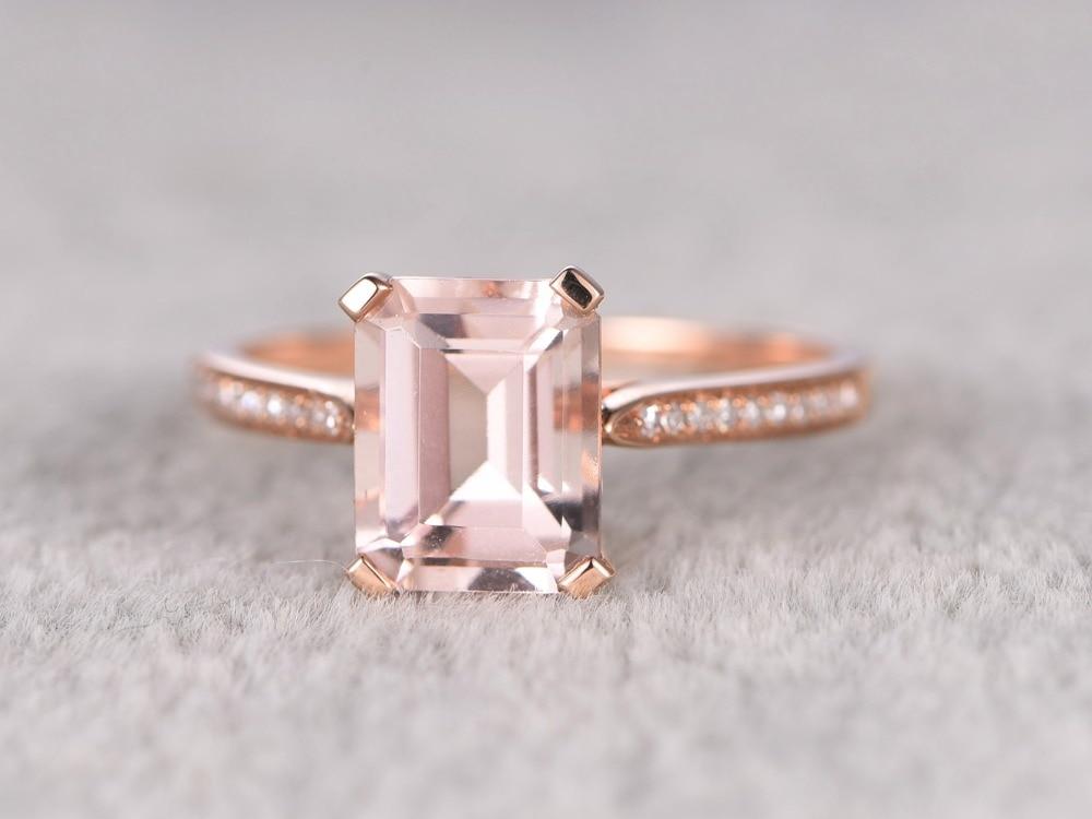 MYRAY 14k Rose Gold 7x9mm Emerald Cut Natural Pink