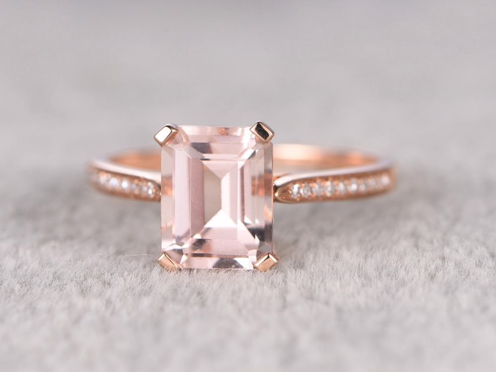 MYRAY 14k Rose Gold 7x9mm Emerald Cut Natural Pink Morganite Vintage Engagement Ring Wedding Anniversary Rings for Women Antique