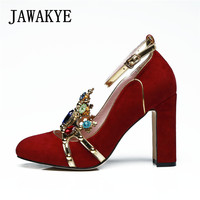 Sexy Crown jeweled Red High heels Wedding Shoes Woman Suede Round Toe Chunky high heeled ankle strap Women Pumps ladies shoes