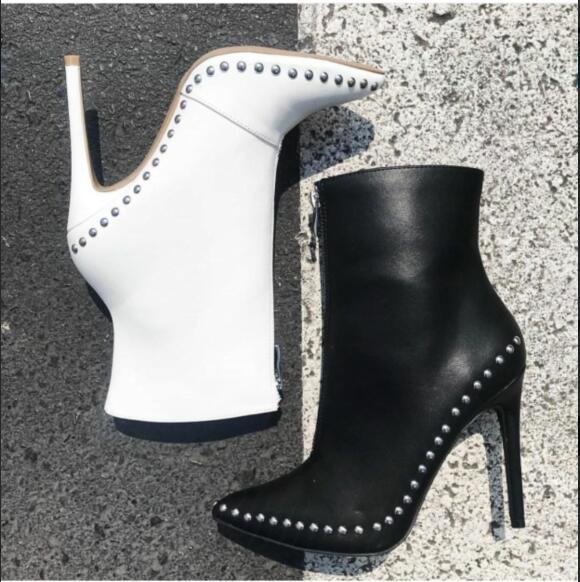 Super zasznurować prawdziwej skóry Overknee czarne udo wysokie buty Studded Botas Mujer buty kowbojskie buty kobieta pończochy w Buty do kostki od Buty na  Grupa 1