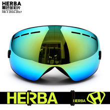 New HERBA  brand ski goggles Ski Goggles Double Lens UV400 Anti-fog Adult Snowboard Skiing Glasses Women Men Snow Eyewear