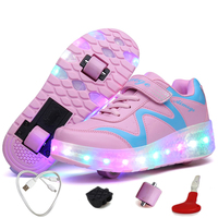 Kids Rechargeable Led Sneakers with Wheels Glowing Sneakers for Girls Led Sneakers with Backlight Led Light Up Shoes with Wheels
