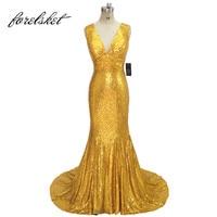Блестящие золотистые блестки Длинные свадебные платья 2019 Новый дизайн Элегантные Для женщин Формальные Свадебная вечеринка платья на зака