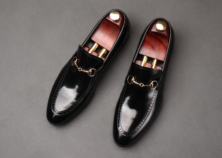 Dress shoes men slip on genuine patent flast loafers buckle pointed toes wedding smart casual oxfords breathable formal business high quality men casual business wedding formal dress bright patent leather shoes gentleman flats oxfords shoe slip on zapatos