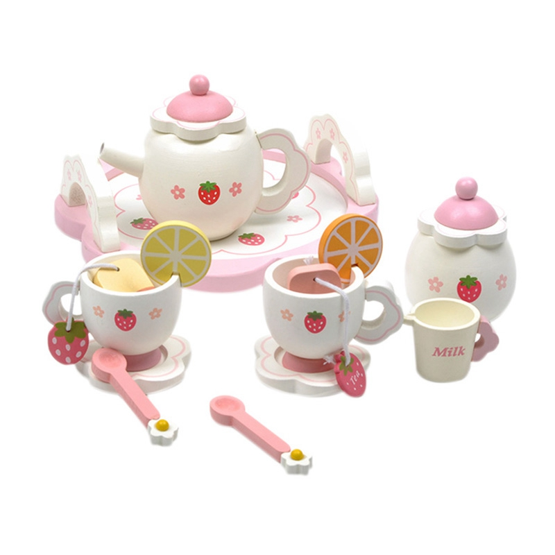 Children'S Play House Tea Set Wooden Strawberry Afternoon Tea Play Games Doll House Furniture Miniature DIY Handmade Accessories