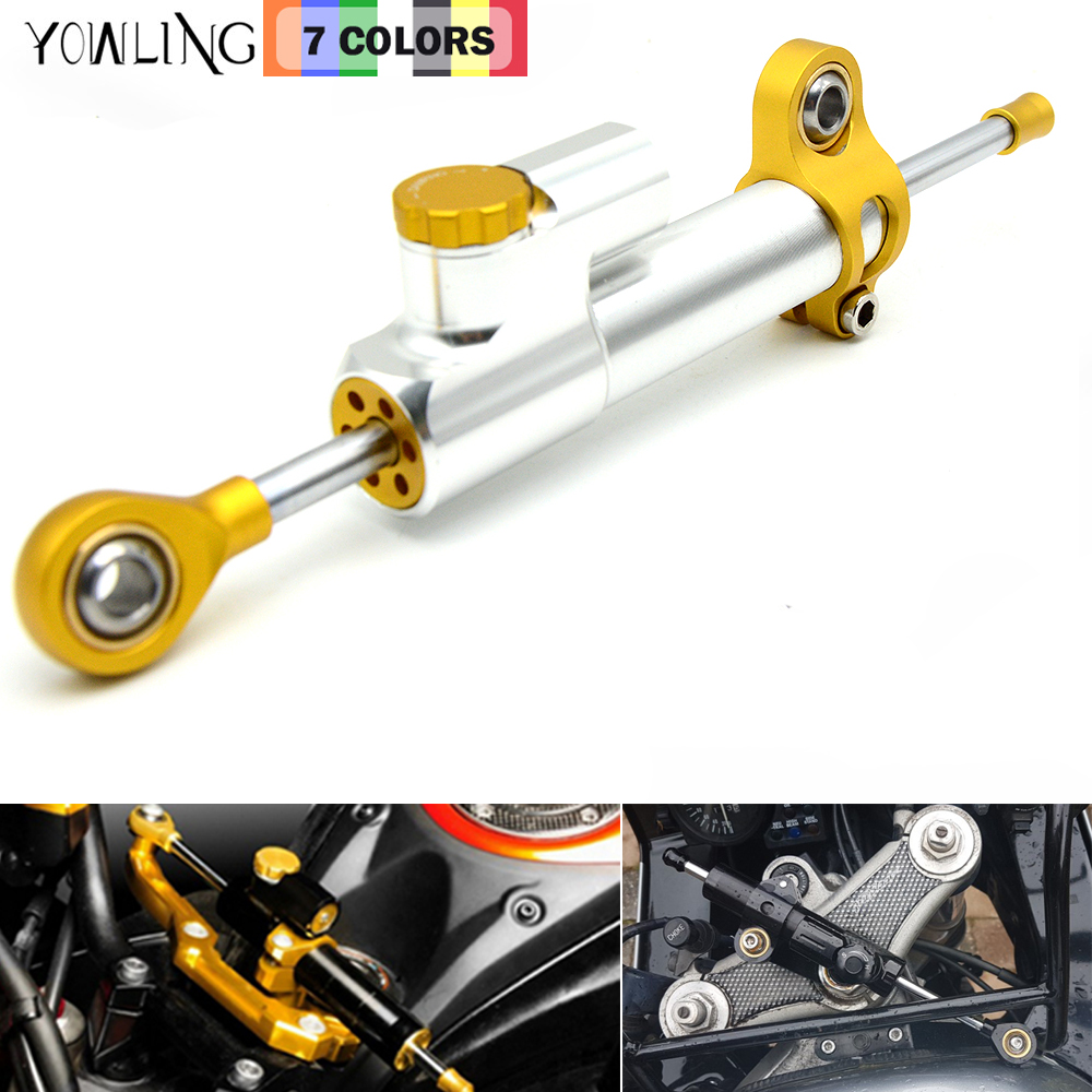 for CNC Damper Steering StabilizerLinear Reversed Safety Control Over for z800 z750 yamaha r6 mt07 fz6 r3 ninja 300 mt 09 xj6 gt motor motorcycle cnc steering damper stabilizerlinear reversed safety control with bracket for yamaha mt09 mt 09 fz 09 13 17