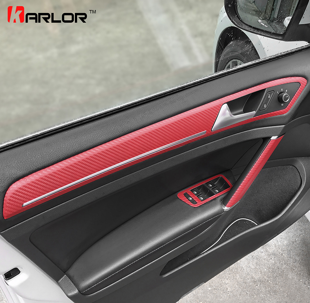 Door Handle Trim Knob Window Switch Panel Carbon Fiber Film Sticker Decal Car Styling For Volkswagen VW Golf 7 MK7 Accessories