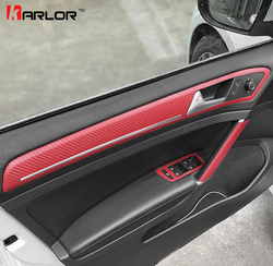 Door Handle Trim Knob Window Switch Panel Carbon Fiber Film Sticker Decal Car Styling For Volkswagen VW Golf 7 MK7 Accessories
