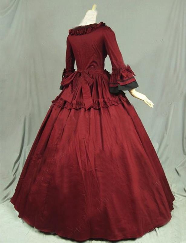 Flare Et Victorienne Noir Robes Bal Mascarade Long Col Partie Longue De Carré Stade Classique Costume Gothique Rouge Manches Robe 4Pw88q