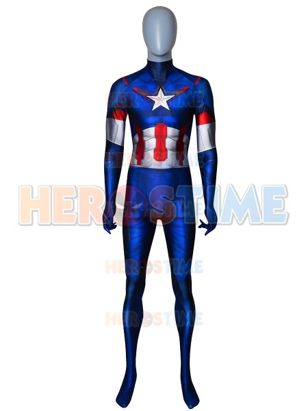 Captain America Costume Age of Ultron Version Costume No Head 3D Print Spandex Cosplay Zentai Suit For Adult/Kids/Custom Made